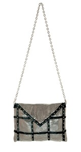 Whiting & Davis Pewter Studded Envelope Clutch