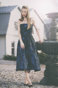 corpet blue crepe dress