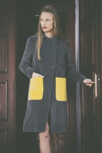 grey yellow pocket jacket