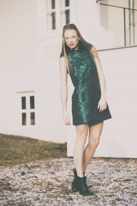 short green crepe dress